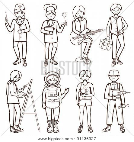 Set of people of different professions (vector illustration )