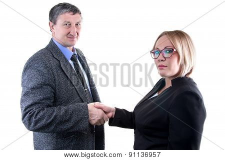 Photo of business man and woman - hanshake