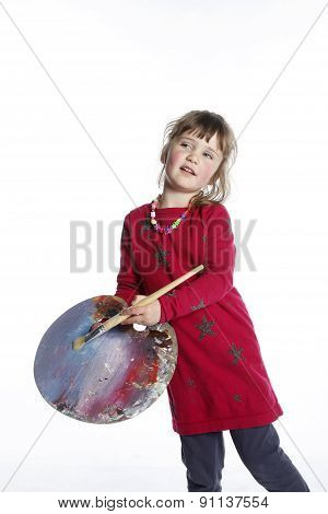 Very Young Girl In Red With Brush And Palette For Painting