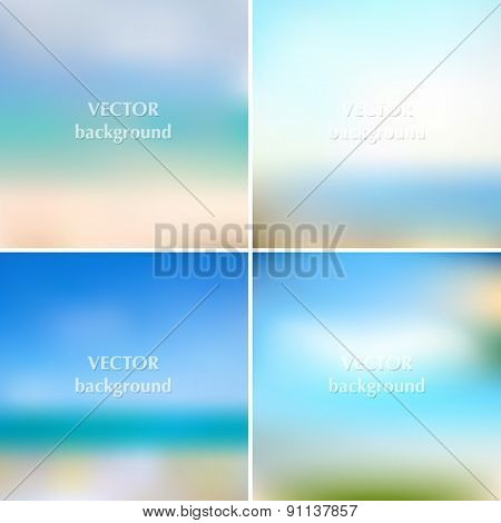 Abstract Blue Sea Summer Blurred Vector Backgrounds Set