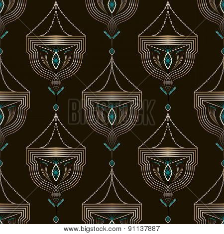 Seamless Antique Art Deco Pattern Ornament. Geometric Background Design. Vector Repeating Texture.