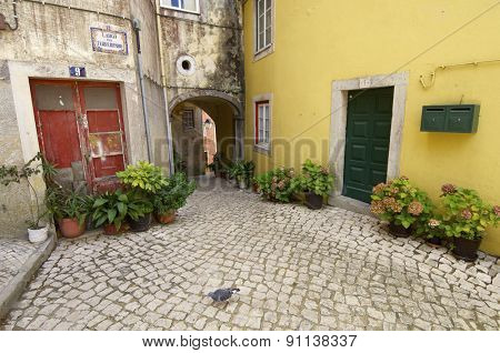 Street paved with cobblestones in Sintra, Portugal.