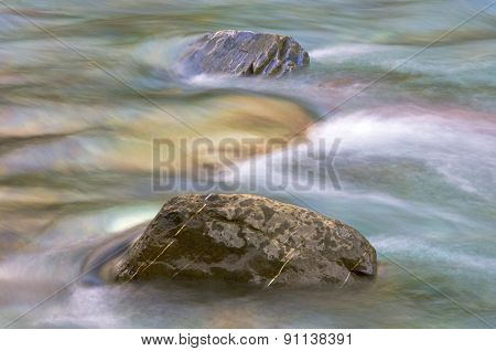 Two stones in a river; Pineta Valley; Ordesa and Monte Perdido National Park; Huesca; Spain