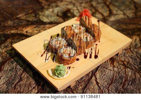 Delicious Ebi Tempura maki sushi rolls