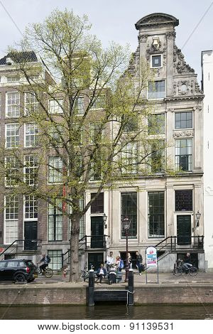 People In Front Of Museum For Photography Huis Marseille On Prinsengracht In Centre Of Amsterdam