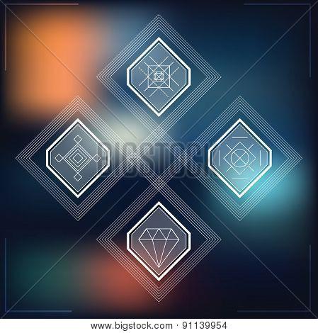 Set Of Geometric Hipster Shapes Blur