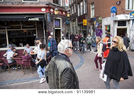 Street In Amsterdam Red Light District Crowded With People