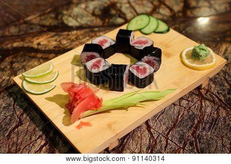 Delicious Tekka maki sushi rolls