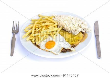 Steak With Chips, Pineapple, Egg, And Rice.