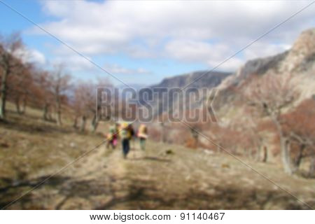 Blurry background - spring mountain landscape