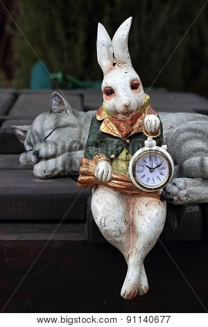 Clock. Hare And Cat