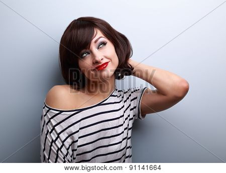 Beautiful Smiling Thinking Young Woman Looking Up