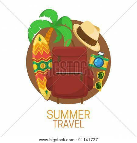 Tourist suitcase and vacation symbols.