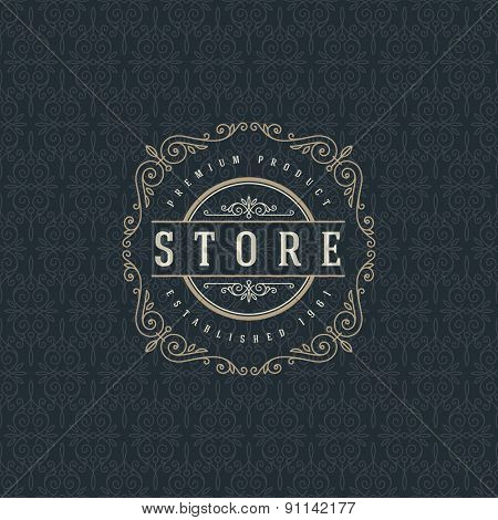 Logo template with flourishes calligraphic elegant ornament elements. Identity design for store or cafe, shop, restaurant, boutique, hotel, heraldic, fashion and etc.