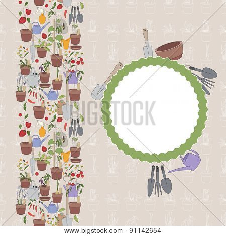 Greeting card. Flower pots with herbs and vegetables. Gardening tools