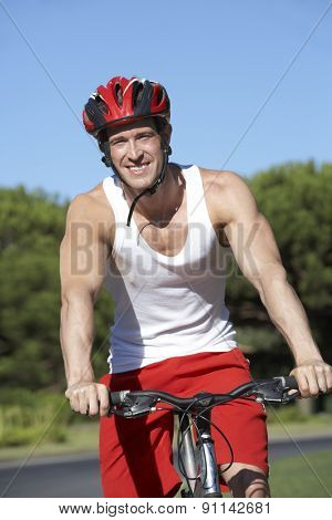 Man On Cycle Ride