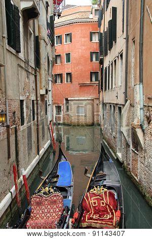 Venetian Landscape With Gondolas.