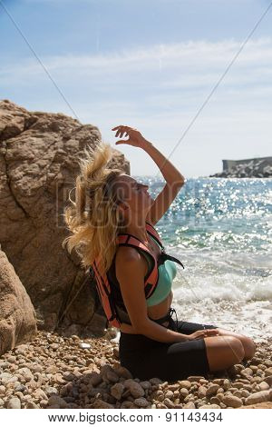 Adventure Girl On A Cliff