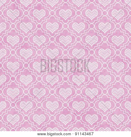 Pink And White Chevron Hearts Tile Pattern Repeat Background