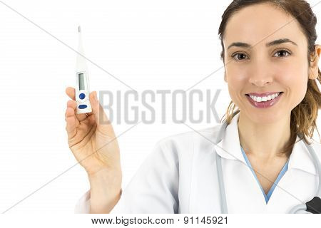 Female Doctor Showing A Digital Thermometer
