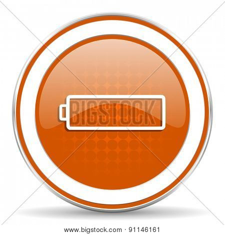battery orange icon charging symbol power sign