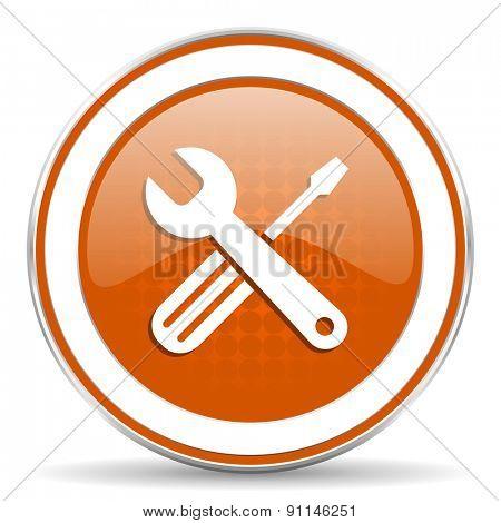 tools orange icon service sign
