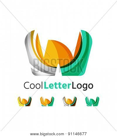 Set of abstract W letter company logos. Business icons made of overlapping flowing waves. Light color modern minimal design