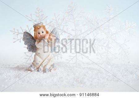 Christmas Angel On Silver Background