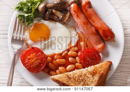 Traditional English Breakfast Closeup. Horizontal Top View