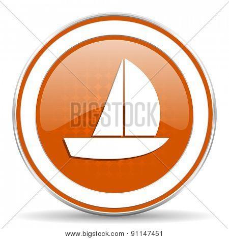 yacht orange icon sail sign