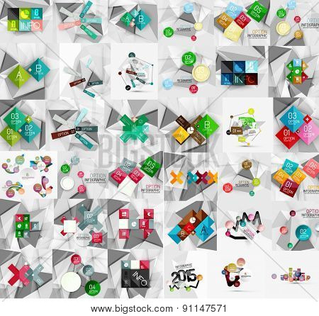 Mega collection of geometric paper style banners. Vector illustration