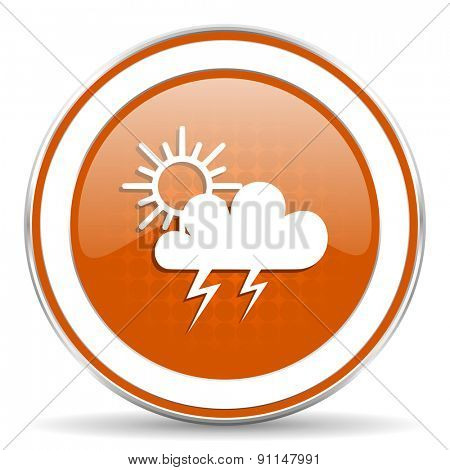 storm orange icon waether forecast sign