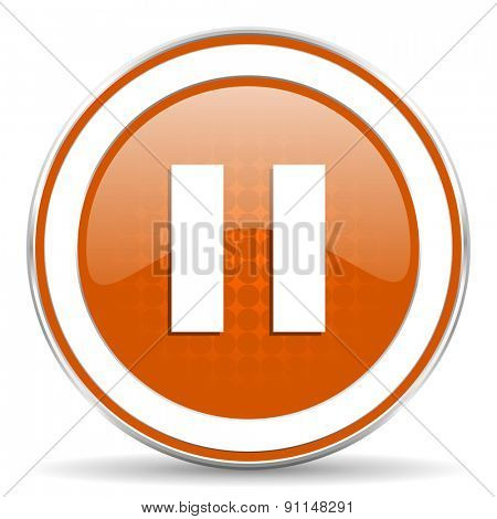 pause orange icon