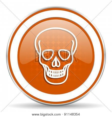 skull orange icon death sign
