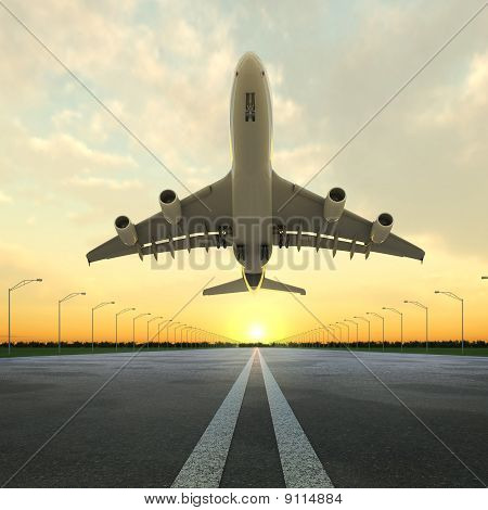 Takeoff Plane In Airport At Sunset