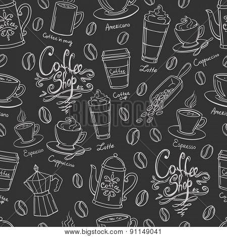 Coffee shop design seamless background. Stylized coffee pattern. Vector.