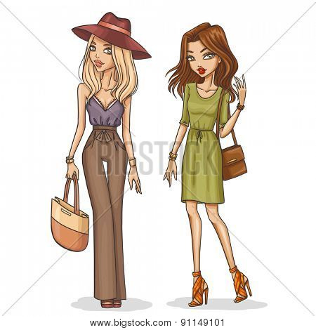 Beautiful and stylish fashion girls. Hand drawn girls in spring-summer outfits. Vector illustration.
