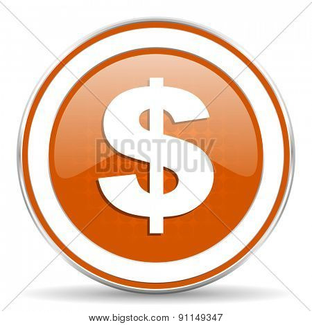 dollar orange icon us dollar sign