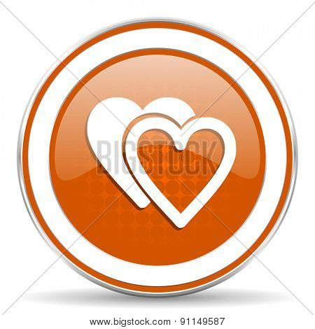 love orange icon sign hearts symbol