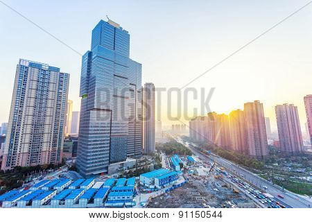 office buildings and modern street