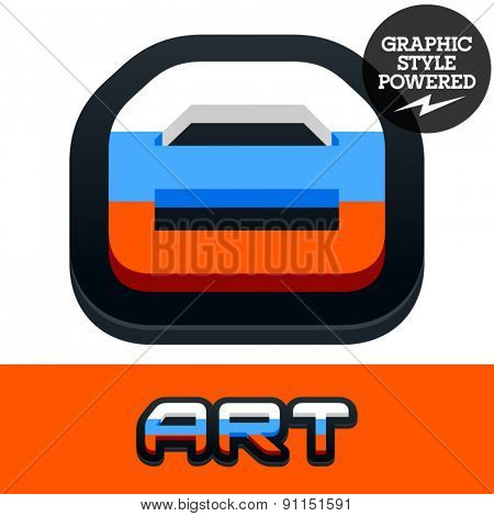 Vector set of Russian flag alphabet. File contains graphic styles available in Illustrator. Number 8