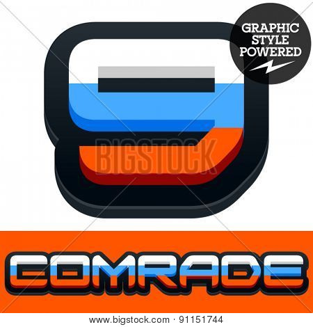Vector set of Russian flag alphabet. File contains graphic styles available in Illustrator. Number 9