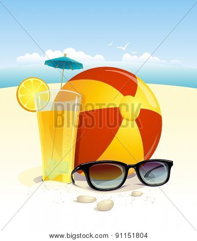 Beach background with sun glasses, beach ball and fruit cocktail with place for text, rasterized version.