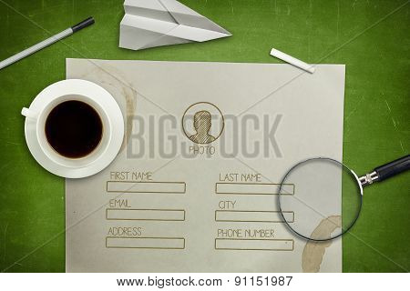 Blank application concept on green blackboard with coffee cup