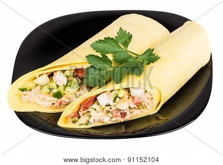 Two Shawarma With Chicken In Black Plate