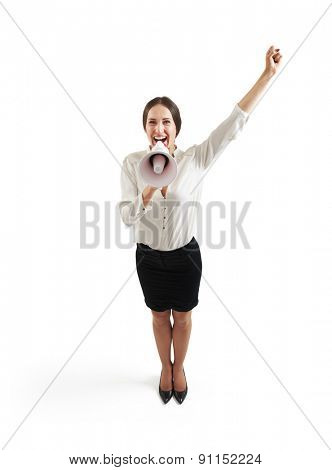 view from above of happy businesswoman in formal wear screaming at megaphone and raising up one hand. isolated on white background