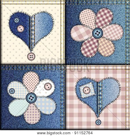 Jeans patchwork with applique of flowers and hearts