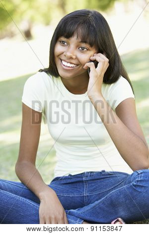 Teenage Girl Using Mobile Phone In Park
