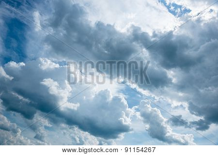 Bright blue sky background with soft white clouds