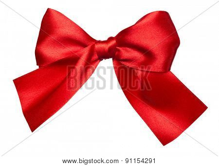 red bow made from silk isolated